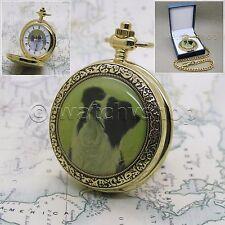 14K GOLD Antique Men Quartz Pocket Watch BORDER COLLIE enamel Cover on Chain C50