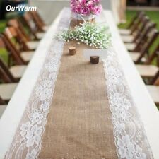 5x Vintage Hessian Burlap Lace Flower Table Runner Wedding Banquet Table Decor
