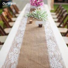 Vintage Rustic Hessian Jute Burlap Lace Flower Table Runner Wedding Party Decor