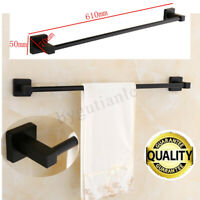 Bathroom Wall Mounted Towel Rail Holder Single Shelf Storage Rack Bath Stand