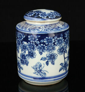 China Old Hand-Painted Jingdezhen Blue And White Porcelain Tea Canister Pots