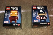 LEGO BrickHeadz Lot Captain America 41589 Iron Man 41590 New Sealed Retired 2017