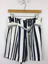 NEW M&S Collection Womens Size 10 Short Summer Navy Blue White Striped Chiffon