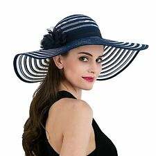 Women's Beach Hat Wide Brim Floral Floppy Royal Ascot Ladies' Day Hats T238