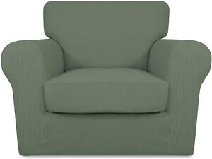 PureFit 2 Pieces Microfiber Stretch Couch Slipcover Cover (CHAIR, Greyish Green)