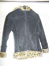 Big Chill Girls Faux Shearling Suede Coat Black Leopard Trim L 14-16 Warm Winter