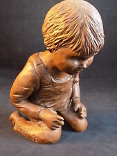 SOMERVILLE SCULPTURE Statue KNEELING BOY IN OVERALLS Pecan Shell Resin Rose