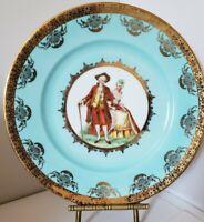 "Heinrich Plate Gold Encrusted PORTRAIT PLATE  Blue & Gold Porcelain Plate 10.5"""