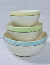 Brand NEW - Rae Dunn Ceramic Polka Dot Mix, Pinch, Dash Mixing bowl set