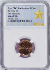 """2019 W First """"W"""" Uncirculated Cent First Releases NGC MS69 RD STAR Label"""
