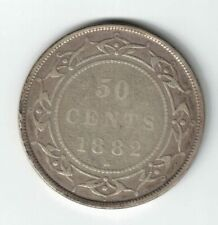 NEWFOUNDLAND 1882H 50 CENTS HALF DOLLAR VICTORIA STERLING SILVER CANADIAN COIN