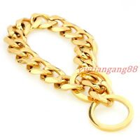 """10/12/15/17/19mm Gold Curb Cuban Link Dog Chain Collar Stainless Steel 12""""-32"""""""
