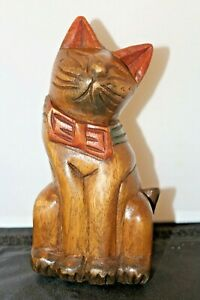 """Large 7.25"""" Tall Hand Carved Wooden Cat Solid Wood Sculpture Figurine Feline"""