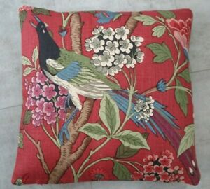 "GP & J BAKER FABRIC CUSHION COVER DESIGN Hydrangea Bird 18"" x 18"" RED 100% LINEN"