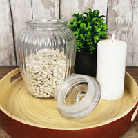 2280ML Glass Jar Fluted Design Sweets Cookies Storage Dry Food Pot Container New