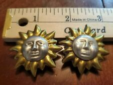 Earrings Clip-On Two-Tone Unique Mexico Vintage Sterling Silver 925 Sunshine