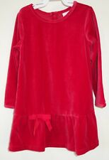 New Hanna Andersson Red Velour Dress ~ Girl's Size 90, 2-3.5Y