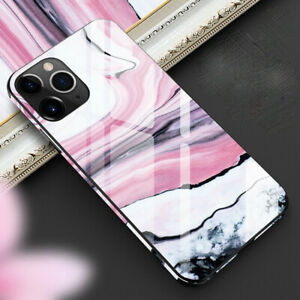 MOBILE PHONE CASE IPHONE 6/7/8/11/12/XR/PRO PINK/PURPLE MARBLE TEMPERED GLASS