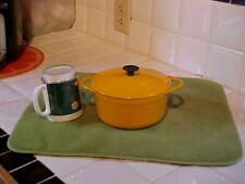 Vintage Cousances Le Creuset Enamel Cast Iron Sauce Pot & Lid  #16 Yellow Orange