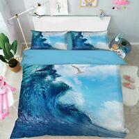3D Sky Surf Bird 66 Bed Pillowcases Quilt Duvet Cover Set Single Queen AU Carly