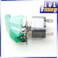 Car Racing On Off Aircraft Type Toggle Switch Control Flip Cover 12v Green