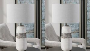 "TWO COMANCHE RUSTIC CASUAL CRACKLE GLAZE CERAMIC 27"" TABLE LAMP UTTERMOST"