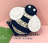 NWT Kate Spade Down The Rabbit Hole BEE Coin Purse NOVELTY BUZZ Gold Glitter 🐝