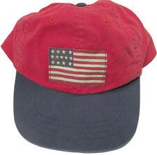 NEW! Polo Ralph Lauren Baseball Hat!  Weathered Red  *Big Usa Flag and Big Pony*