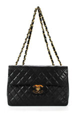 Chanel женская большая кожи ягненка стеганая половина клапан сумка черный 0271IK6142