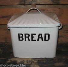 White Enamelware BREAD BOX*Primitive/French Country*Farmhouse Vintage Kitchen