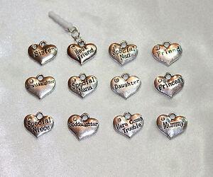 Mobile Phone Anti Dust Plug Rhinestone Word Name Heart Charm Earphone Jack