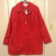 New Avenue 14-16 red button front lined long sleeve 2 pocket poly coat