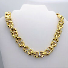 Nolan Miller Gold Tone Chunky Link Collar Necklace With Rhinestones, Signed 18""