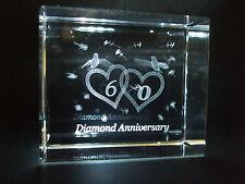 LASER CRYSTAL PAPERWEIGHT WEDDING 60th DIAMOND ANNIVERSARY 3695 PRESENTATION BOX