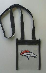 """NFL Football Denver Broncos Womens Clear Crossbody Logo Bag apx 8"""" x 6""""."""