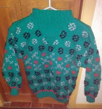 Handmade fairisle sweater green red black grey for women size small
