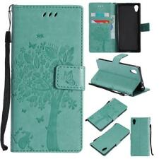 Green Tree Wallet Case for Sony Xperia XA1 - Leather Like Kickstand Cover USA
