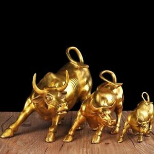 Golden Wall Street Bull OX Figurine Sculpture Bull Statue Home Office Decoration