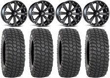 "MSA Black Kore 14"" UTV Wheels 30"" XCR350 Tires Honda Pioneer 1000 / Talon"