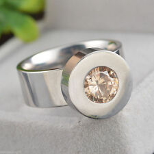 size 9 silver STAINLESS STEEL RING with 4 CZ INTERCHANGEABLE STONES