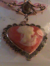 Red Heart Cameo Brooch in Rosetone