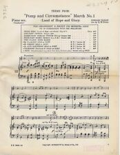 Pomp and Circumstance Land Of Hope And Glory, H. W. Glenn Band Arrangement 1936