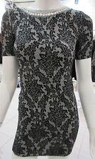 Dress SMALL Rhinestones Lace Black White Floral Stretch Bodycon V Back NWT DC936