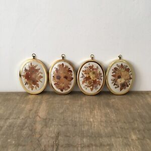 Vintage Joanna Sheen Dried Flowers Pressed Picture Oval Frame Wall Hanging x4