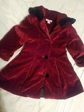 Toddler Girls Red Velvet Christmas/ holiday coat jacket 2T 3T hood fur