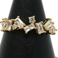 Gorgeous Cubic Zircon Ring Women Engagement Jewelry Gift 14K Yellow Gold Plated