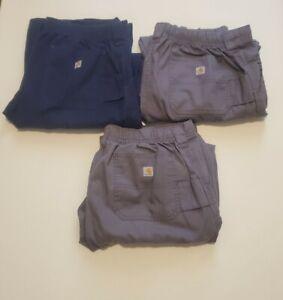 Carhartt Ripstop Multi Cargo Scrub Pants Mens Medium Gray Blue 3 Pair Lot of 3