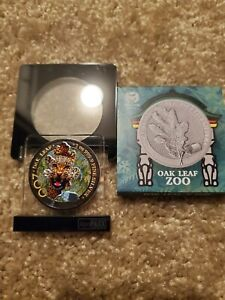 2019 Germania 5 Mark Jaguar The Oak Leaf Zoo Series 1oz Colorized Silver Coin