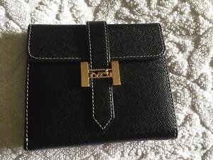Stunning Hermes Black Leather Wallet Purse