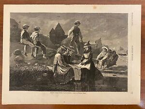 Winslow Homer print, Harper's Weekly, Seesaw-Gloucester, original engraving,1874